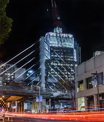 howard street cable stay bridge (pbo31) Tags: sanfrancisco california nikon d810 night dark black october fall 2016 boury pbo31 city urban color construction financialdistrictsouth howardstreet bridge transbay terminal bus cablestay rinconhill lightstream traffic roadway motion street panoramic large stitched panorama crane