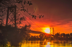 Barito bridge (sandilesmana28) Tags: water bridge mahakam kalimantan borneo cloud gold yellow lens star river steel transportation tree