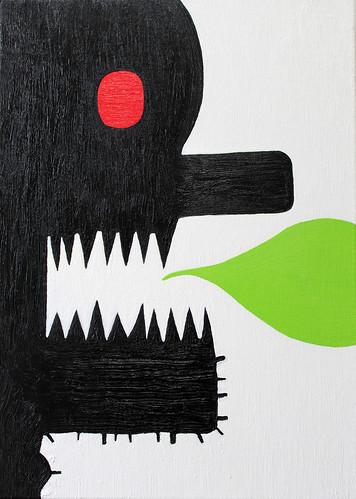 Alex Gene Morrison 'Teeth Speak Green', 2016 Oil on canvas 42x30cm