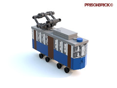 Tram Deformed 01 (PrisonBrick) Tags: lego tram opicina trieste train mini moc scale deformed opcina