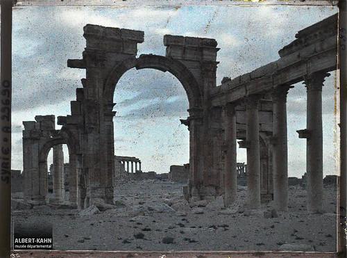 Syrie, Palmyre, Portique de la Colonnade Centrale, au soir tombant