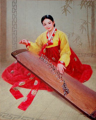Joueuse du kayakum - Kim Il Kwang (nokoredstar) Tags: aquarelle peinture coréedunord pyongyang paysage broderie
