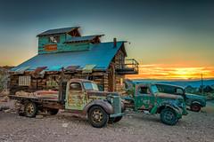 Sunrise in Elderado Canyon (JSP92) Tags: searchlight nevada unitedstates us nelson ghost town sunrise truck van vintage vehicle shack wood