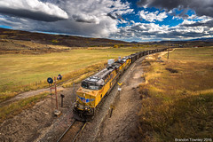 Union Pacific in Phippsburg, Colorado (Brandon Townley) Tags: trains railroad up colorado unionpacific clouds sky phippsburg riogrande
