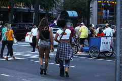 297  HALLOWEEN, CHARLOTTE, '16 (Lugrada) Tags: halloween charlotte characters costumes fun happy instep regal heels legs skirts skimpy military showing hangingout bunny chicks pink myotherside swinging