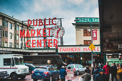 The Weekday Bustle (seango) Tags: usa pnw pacificnorthwest pacific northwest nikon d600 seango travel photography travels tourism getaway trip vacation 2016 october seattle washington wa pikeplacemarket pikemarket pike public market center neon lights 50mm f14 prime lens publicmarket