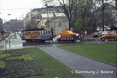 Mnchen 1970 Werbetram VW K70 Karolinenplatz (Pacific11) Tags: mnchen munich 1970 1971 vintage alt selten bilder bayern tram trambahn werbewagen vw k70 dwagen karolinenplatz