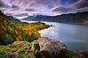 Columbia River Gorge (David Shield Photography) Tags: columbiarivergorge hoodriver oregon pacificnorthwest autumn fall landscape foliage trees water sky longexposure clouds color light nikon