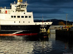 Scotland Greenock Caledonian MacBrayne car ferry Argyle leaving dry dock 18 November 2016 by Anne MacKay (Anne MacKay images of interest & wonder) Tags: scotland greenock caledonian macbrayne car ferry argyle ship repair dry dock xs1 18 november 2016 picture by anne mackay
