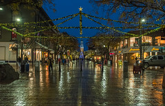 Another shot in the rain (LEXPIX_) Tags: church street marketplace csm downtown burlington vermont night holiday festive christmas lights rain rainy wet road brick ground pavement reflections glossy scene urban city nikon d500 15x crop sensor 2470 28 35mm fov lexpix