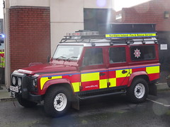 NIFRS Land Rover Defender 110 (nathanlawrence785) Tags: nifrs nifb psni ruc police fire service northern ireland truck engine appliance battenburg red yellow white dog canine land rover defender rosenbauer airport bhd egac volvo fm fl foam