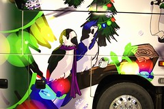 Bird Bus (kfopsen) Tags: architecture vehicle bus coach art drawing animal canada manitoba winnipeg plant cartoon events christmas tree bird bluejay christmastree lighting redriverexhibitiongrounds motorcoachindustriesmci j4500 greyjay