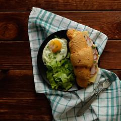 _DSC4269 (evgenia-kis) Tags: food cheese breakfast salad tasty eggs croissant yolk woodtable