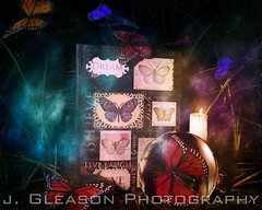 Butterfly Woman (Jennifer Gleason) Tags: inspiration color love grass electric composite night composition butterfly book candles glow outdoor surrealism perspective butterflies surreal bugs magnifyingglass believe dreams dreamy magnify positivity jennifergleason jgleasonphotography