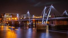 Hungerford Bridge London (Colin_Evans) Tags: bridge london water thames skyline architecture night river hungerford refelction goldenjubileebridge jubileebridge