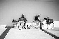 Restfull Man (achargros) Tags: people bw italy man rome bike deauville