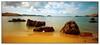 Menorcan Beach (3,6,9 Seconds of light) Tags: blue red sea sun holiday motion blur beach water sunshine yellow clouds coast sand rocks iron fuji north warmth motionblur coastal filter shore crop heat fujifilm coastline cropped tranquil menorca sharky jeepsafari 10stop xf14mmf28r fujixm1 playasdecavelleria