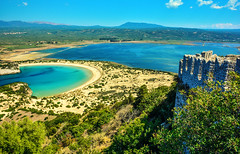 View from the Old Navarino Castle (free3yourmind) Tags: old blue sea green castle beach water clouds bay view greece fortress peloponnese navarino voidokoilia