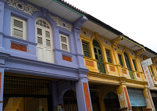 Old colonial houses in the unesco world heritage zone, Penang island, George town, Malaysia