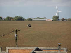 Freshly ploughed (stevenbrandist) Tags: ragdale leicestershire field view kubota atv dog windturbine