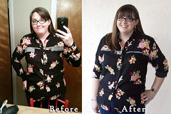 Floral Button Down - Before and After (ShowAndTellMeg) Tags: refashion thrifted beforeandafter buttondown rayon pennylane 80s easychanges
