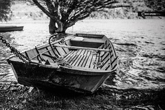 Crusoe`s hideout (owdtwobad) Tags: shade lake outdoor water summer boat monochrome nature blackandwhite sunray bovan