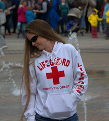 Long Hair Life Guard (swong95765) Tags: lifeguard woman female hair longhair shades sunglasses beauty pretty redcross