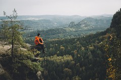 Not all of those who wander are lost. (Bokehm0n) Tags: landscape nature vsco explore flickr earth travel folk 500px saxon switzerland saxony germany autumn vscofilm mountain outdoors people tree adult recreation cropland hill scenic adventure sky wood valley environment hike