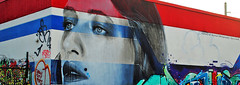 Red, White & Blue. (Infinity & Beyond Photography) Tags: wynwoodwalls miami redwhiteblue wall street art grafitti mural painting woma face warehouse building fashion district