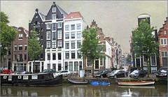 Le long du Herengracht, Amsterdam, Nederland (claude lina) Tags: claudelina nederland netherlands paysbas hollande amsterdam architecture canal gracht herengracht meisons houses pniche bateau