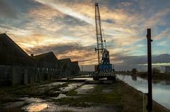 """Dutch River"" Sunset (Kingmoor Klickr) Tags: priestman latticeboom crawler crane goole dutchriver yorkshirefeedstuffs yorkshire"