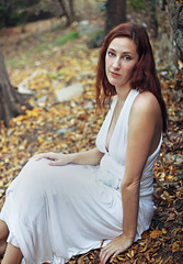 Kelly (reecord2) Tags: portrait redhead whitedress autumn fall leaves forest nature richardsheehan canon 6d fullframe 50mm tiffen blueeyes