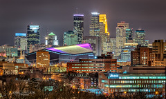 All Dressed Up (Greg Lundgren Photography) Tags: minneapolis usbankstadium vikings minnesota skyline twincities ids wellsfargo capella skyscrapers cityscape urban night lights stadium purple magenta winter midwest nfl universityofminnesota