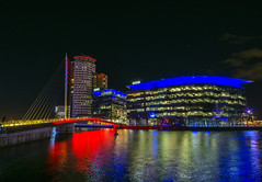 Media City (l4ts) Tags: architecture greatermanchester manchester salfordquays salford nightphotography longexposure manchestershipcanal mediacity mediafootbridge reflections bbc