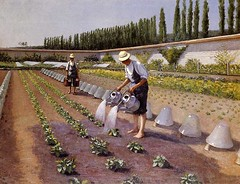 Gustave Caillebotte  The Gardeners, 1877. Painting: oil on canvas, 90 x 117 cm. Private collection. Genre PaintingRural1870s (ArtAppreciated) Tags: fineart painting blogs tumblr artblogs artappreciated artoftheday artofdarkness artofdarknessco artofdarknessblog gustave caillebotte french artists art history modern 19th century realism rural farm agriculture garden nature outdoors date1877 1870s daily life genre working land work scapes scenes