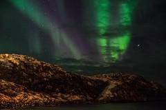 Bugøynes (lindvalll) Tags: outdoor north cold artic northernlights lights snow winter nature wonder wonderful green night dark sky shore sea
