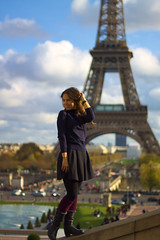 Pose à la tour eiffel (AbdelBokeh) Tags: shooting girl tower skirt sexy paris brunette socks boots nylon pantyhose nylons legs eiffel sky blue