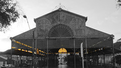 old market at sunset (OREBAC SANEDRAC) Tags: sunset desaturate iron buildong old market light black white