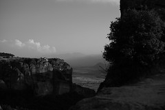 Meteora (Dimitri Tenezakis) Tags: blackwhite bw nb noirblanc landscape rocks monastery architecture plain clouds mountains greece meteora
