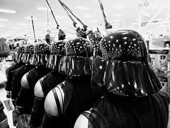 Darths from behind (Explored) (therealjoeo) Tags: darthvader starwars target texas blackandwhite