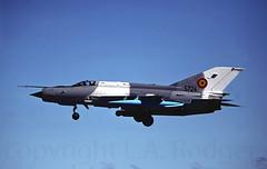 MIG 21   5724 (TF102A) Tags: aviation aircraft raflossiemouth mig21 romanianairforce mig kodachrome