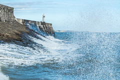 Porthcawl Lighthouse (taniamccarthy1976) Tags: ocean blue sea lighthouse seascape wave splash porthcawl