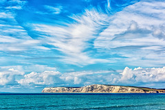 White Cliffs and White Clouds (Simon Downham) Tags: blue sea sky cliff cloud white seascape detail clouds landscape bay chalk cliffs spray isleofwight land scape isle wight freshwater chalky freshwaterbay tennysondown dsc3438 simondownham