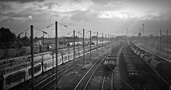 Somain railways 4 (april-mo) Tags: france rail trains railways nord goodstrain blackandwhitepicture darkpicture somain voiesferres