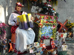 Montmartre Accordion Player. (Flyingpast) Tags: street travel vacation music woman holiday paris france colour tourism french costume artist vibrant vivid accordion montmartre colourful busker moulinrouge sacrecouer citybreak wb2000 tl350