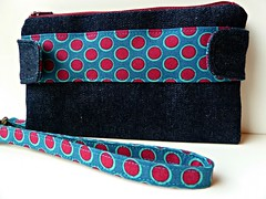 Spotty Della (The_Motherknit) Tags: wallet sewing purse denim wristlet wahm swoonpattern dellawallet