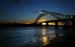 The Bridges at Sunset (Greater Manchester Police) Tags: widnes rivermersey runcornbridge silverjubileebridge britanniabridge widnesbridge ethelfledabridge
