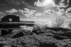 Bridgewater Bay (Billie_1209) Tags: ocean sea blackandwhite bw monochrome clouds landscape blackwhite rocks waves lowtide morningtonpeninsula blairgowrie bridgewaterbay keyholerock nikond800