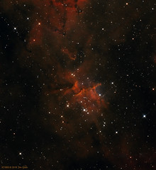 IC1805 - The Heart Nebula (Center Cluster Melotte 15) (JRG Astroimages) Tags: ic1805 heartnebula cassiopeia sbig lee illinois usa fvas tcaa nsa astrophotography astroimaging starry sky night astronomy nebulae cluster open cluster north midwest atlas narrowband oiii astrometrydotnet:id=nova1742300 astrometrydotnet:status=solved