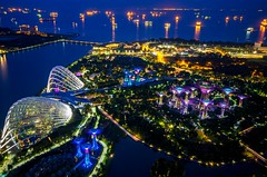 Gardens by the Bay from Marina Bay Sands Skypark, Singapore, 20161001 (G  RTM) Tags: supertreegrove singapore supertree gardensbythebay flowerdome cloudforest marinabaysands skypark obervatory deck roof